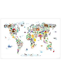 Animal Map Of The World - Art Poster