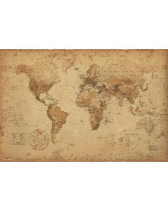 Antique Style World Map - Poster