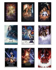 Star Wars: Episode I, II, III, IV, V, VI, VII, VIII & Rogue One - Movie Poster Set
